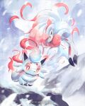 bright_pupils claws closed_mouth commentary english_commentary evolutionary_line half-closed_eyes highres hisuian_zoroark hisuian_zorua kelvin-trainerk looking_down pokemon pokemon_(creature) red_eyes smile snow snowing twitter_username white_pupils