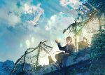 1boy bird cat clouds day dove fence fusui highres leaf luggage male_focus necktie original scenery shoes signature sitting sky solo sunlight