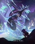 1girl black_footwear black_hair blurry bonnet boots character_name commentary copyright_name english_commentary hapu_(pokemon) highres holding jumpsuit kelvin-trainerk kneeling long_hair night outdoors pokemon pokemon_(creature) pokemon_(game) pokemon_sm purple_headwear sky star_(sky) tapu_fini twintails twitter_username water