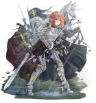 1girl 3others ambiguous_gender armor armored_boots arrow_(projectile) axe boots cape denpajin-ryuushi fighting_stance gauntlets helmet highres holding holding_sword holding_weapon horse knight multiple_others orange_hair original sword weapon yellow_eyes