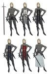 1girl absurdres alternate_costume armor blonde_hair character_sheet highres holding holding_sword holding_weapon knight original shoulder_armor sword tabard weapon