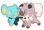 :d blush_stickers closed_mouth fangs gacho_(220_vvv) highres no_humans open_mouth pokemon pokemon_(creature) rockruff shinx smile symbol-only_commentary tongue twitter_username yellow_eyes