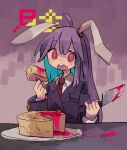 1girl :o @_@ ahoge animal_ears bangs black_jacket blazer blood blood_on_knife cheese commentary daizu_(melon-lemon) drooling eating english_commentary eyebrows_visible_through_hair eyes_visible_through_hair film_grain floppy_ears food fork hair_between_eyes highres holding holding_fork holding_knife jacket kitchen_knife knife long_hair long_sleeves looking_at_viewer muted_color necktie no_nose open_mouth pink_blood plate purple_background rabbit_ears red_eyes red_neckwear reisen_udongein_inaba round_teeth saliva sitting smile swiss_cheese table tareme tearing_up teeth touhou translation_request upper_body upper_teeth wing_collar