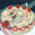 1girl absurdres bangs cake candle food food_focus fruit highres lying medium_hair mkmkmkz night night_sky one_eye_closed original red_eyes sky solo star_(sky) strawberry tongs white_hair