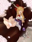 3girls animal_on_head apron bad_id bad_pixiv_id bare_legs barefoot bird bird_on_head blonde_hair blush bow bowtie breasts broom cherry_blossoms closed_eyes crossed_legs cup eyebrows_visible_through_hair fang feet foot_focus gourd hair_bow hakurei_reimu hat highres holding holding_cup horns ibuki_suika in_tree japanese_clothes kakiha_makoto kirisame_marisa long_hair miko multiple_girls on_head open_mouth petals red_bow sakazuki sitting small_breasts soles solo_focus toes touhou tree witch_hat
