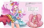 2girls ^_^ animal_ears blue_eyes blush cake_hair_ornament closed_eyes closed_mouth commentary_request cure_parfait cure_whip elbow_gloves food-themed_hair_ornament gloves hair_ornament highres kirahoshi_ciel kirakira_precure_a_la_mode long_hair looking_at_viewer magical_girl multiple_girls pink_background pink_gloves pink_hair precure rabbit_ears simple_background smile sparkling_eyes the_king_neet translation_request two-tone_background usami_ichika very_long_hair white_background white_gloves