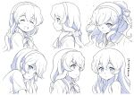 1girl :< :d :o ^_^ bangs blush bow closed_eyes closed_mouth collared_shirt commentary_request eyebrows_visible_through_hair hair_between_eyes hair_down hair_ornament hair_over_one_eye hair_scrunchie hairband highres kantai_collection long_hair low_ponytail monochrome multiple_views nude parted_lips ponytail profile sailor_collar school_uniform scrunchie serafuku shirt short_sleeves simple_background smile tenshin_amaguri_(inobeeto) wet wet_hair white_background yamagumo_(kancolle)