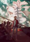 1boy absurdres animal car cigarette clouds cloudy_sky denim fish fish_request flying_fish food full_body geta ground_vehicle hand_in_pocket highres hipy_(image_oubliees) holding holding_cigarette jacket jeans motor_vehicle original outdoors oversized_animal pants red_jacket scenery shirt sky standing transmission_tower vegetable white_shirt