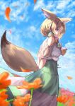 1girl animal_ears bare_shoulders black_hair blonde_hair blue_hair braid closed_mouth clothing_cutout field flower flower_field forehead fox_ears fox_girl fox_tail from_below from_side green_skirt hair_over_shoulder highres hololive long_hair long_skirt looking_at_viewer multicolored_hair omaru_polka parted_hair petals pink_hair short_sleeves shoulder_cutout side_braid skirt smile solo streaked_hair tail violet_eyes virtual_youtuber wind xyunx
