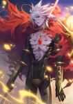 1boy abs armlet armor bangs bishounen black_bodysuit blue_eyes bodysuit bracer c_home cape chest_jewel collar crotch_plate earrings embers eyeshadow fate/apocrypha fate/grand_order fate_(series) fur_collar heterochromia highres holding holding_polearm holding_weapon jewelry karna_(fate) lips looking_at_viewer makeup male_focus pale_skin polearm single_earring solo spiked_collar spikes sunrise toned toned_male weapon white_hair