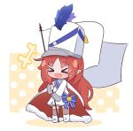 >_< +++ 1girl arknights cape chibi drum_major eyebrows_visible_through_hair flag full_body hat holding holding_flag kurotofu long_hair long_sleeves myrtle_(arknights) official_alternate_costume open_mouth pointy_ears redhead smile solo standing thigh-highs white_cape white_flag white_headwear