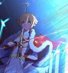 1girl bangs blonde_hair blood blood_on_face blood_on_weapon crazy_eyes daiba_nana eyebrows_visible_through_hair green_eyes hair_between_eyes hair_ribbon highres holding holding_sword holding_weapon jacket jacket_on_shoulders long_sleeves looking_at_viewer multiple_swords open_mouth pleated_skirt red_jacket ribbon sawara65 shirt short_hair short_twintails shoujo_kageki_revue_starlight skirt solo sword twintails weapon
