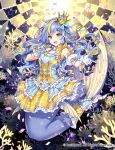 1girl :d bangs blonde_hair blue_eyes blue_hair blush cardfight!!_vanguard character_request commentary confetti coral crown detached_sleeves dress eyebrows_visible_through_hair frilled_dress frills full_body gloves holding holding_microphone layered_dress long_hair looking_at_viewer mermaid microphone mini_crown monster_girl multicolored multicolored_eyes nardack open_mouth plaid plaid_dress puffy_short_sleeves puffy_sleeves short_sleeves smile solo symbol-only_commentary two-tone_dress white_gloves yellow_eyes