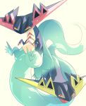 alternate_color aru_(citrine_drplt) claws closed_mouth commentary_request dragapult grey_background half-closed_eyes highres looking_to_the_side no_humans pokemon pokemon_(creature) shiny_pokemon tongue tongue_out