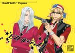 2boys american_flag american_flag_print at_gunpoint bandana bangs black_neck_ribbon black_vest blonde_hair blue_eyes card coat cover cover_page doujin_cover facial_hair flag_print gun hair_over_one_eye handgun holding holding_card holding_gun holding_weapon keith_howard long_hair looking_at_another male_focus multiple_boys open_mouth pegasus_j_crawford red_coat red_shirt revolver riichi_(reati) shirt short_hair short_sleeves stubble studded_bracelet studded_vest sunglasses upper_body vest weapon white_hair yellow_background yu-gi-oh! yu-gi-oh!_duel_monsters