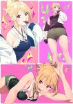 1girl blonde_hair breasts commentary cookie cropped_jacket food food_in_mouth henken highres jacket long_hair looking_at_viewer medium_breasts multiple_views open_clothes open_jacket open_mouth original ponytail red_eyes short_shorts shorts smile symbol-only_commentary tank_top tongue tongue_out white_jacket