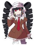 1girl alternate_costume bangs black_hair black_nails bonnet breasts brown_jacket brown_skirt celestia_ludenberg claw_ring commentary_request cowboy_shot danganronpa:_trigger_happy_havoc danganronpa_(series) drill_hair earrings frilled_skirt frills furukawa_(yomawari) gothic_lolita hand_up highres jacket jewelry juliet_sleeves large_breasts lolita_fashion long_hair long_sleeves looking_at_viewer nail_polish necktie pleated_skirt puffy_sleeves red_eyes red_necktie simple_background skirt smile solo thigh-highs twin_drills twintails white_background white_legwear zettai_ryouiki