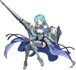 1girl ark_order armor armored_boots artist_request bangs bare_shoulders black_corset black_legwear blue_cape blue_hair boots bra braid breasts cape closed_mouth corset full_body gareth_(ark_order) grey_footwear holding holding_shield holding_weapon large_breasts long_hair official_art shield sitting solo tachi-e thigh-highs thigh_boots transparent_background underwear weapon white_bra yellow_eyes