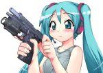 1girl :3 aqua_eyes aqua_hair grey_tank_top gun handgun hase_yu hatsune_miku headset pistol racking_slide sig_sauer_p228 smile solo tank_top trigger_discipline twintails upper_body vocaloid weapon