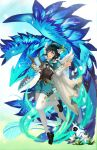1boy androgynous argyle argyle_legwear bangs barbara_(genshin_impact) beret black_hair blue_hair blush bow braid brooch collared_cape collared_shirt commentary_request corset detached_wings dragon dvalin_(genshin_impact) elemental_(creature) feathered_wings feathers flower frilled_sleeves frills full_body gem genshin_impact gradient_hair green_eyes green_headwear green_shorts gunmetalrose hair_flower hair_ornament hat hat_flower highres holding holding_instrument instrument jewelry leaf long_sleeves looking_at_viewer lyre male_focus multicolored_hair one_eye_closed open_mouth pantyhose pinwheel shirt shoes short_hair_with_long_locks shorts sidelocks simple_background smile solo sparkle twin_braids venti_(genshin_impact) vision_(genshin_impact) white_background white_flower white_legwear white_shirt white_wings wings
