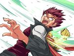 1boy absurdres brown_hair cougar_(cougar1404) gloves highres kazuma_(scryed) looking_at_viewer male_focus open_mouth power_fist redhead scryed shirt simple_background solo spiky_hair white_background