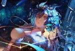 1girl artist_name bangs bare_shoulders blue_hair breasts character_name cloud9 constellation diffraction_spikes diyokama dragon_horns dutch_angle fur_trim hair_between_eyes hair_horns hair_ornament horns jacket large_breasts long_hair looking_at_viewer multicolored_hair night night_sky off_shoulder open_mouth red_eyes shooting_star sky solo sparkle star_(sky) starry_sky symbol-only_commentary twitch.tv upper_body vienna_(vtuber) virtual_youtuber