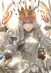 1girl armor blue_eyes breastplate crown fate/grand_order fate_(series) grey_hair hakohako-does highres long_hair shoulder_spikes spikes white_background zenobia_(fate)