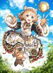 1girl :d animal_ear_fluff animal_ears apron ball bangs black_dress black_eyes black_footwear blue_sky blush brown_hair chain_chronicle chirolulu_(chain_chronicle) clouds commentary_request day dress eyebrows_visible_through_hair flower full_body fur-trimmed_sleeves fur_trim highres jumping long_hair long_sleeves maid_headdress nardack open_mouth outdoors plant pleated_dress shoes sky smile solo white_apron white_flower wide_sleeves