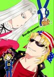 4boys american_flag american_flag_print bandana bangs black_hair black_neck_ribbon black_shirt black_vest blonde_hair blue_eyes blue_jacket blue_pants chibi chibi_inset commentary_request cover cover_page domino_high_school_uniform doujin_cover dutch_angle flag_print green_background grin hair_over_one_eye jacket jewelry jounouchi_katsuya keith_howard light_brown_hair long_hair looking_at_another looking_to_the_side male_focus millennium_puzzle multicolored_hair multiple_boys mutou_yuugi necklace open_mouth pants pegasus_j_crawford red_jacket red_shirt redhead riichi_(reati) school_uniform shirt short_hair simple_background smile spiky_hair studded_vest sunglasses upper_body vest white_hair white_shirt yu-gi-oh! yu-gi-oh!_duel_monsters