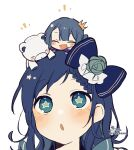 2girls :d ^_^ aiba_uiha blue_bow blue_eyes blue_flower blue_hair blue_rose blush blush_stickers bow braid braided_bangs closed_eyes crown flower hair_bow hair_flower hair_ornament highres long_hair mini_crown multiple_girls nijisanji notice_lines on_head parted_lips rose signature simple_background smile sofra star-shaped_pupils star_(symbol) stuffed_animal stuffed_toy symbol-shaped_pupils teddy_bear tilted_headwear twitter_username virtual_youtuber white_background