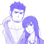 1boy 1girl :o blush chest_hair commentary_request cross_scar facial_hair hetero hood hood_down houzouin_oniwaka japanese_clothes kimono large_pectorals long_sideburns looking_at_another master_2_(tokyo_houkago_summoners) mature_male muscular muscular_male open_clothes open_kimono pectoral_cleavage pectorals porkjinta scar scar_on_face scar_on_forehead short_hair sideburns stubble thick_eyebrows tokyo_houkago_summoners upper_body