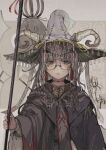1girl glasses grey_hair hat horns looking_back nyannsaka original robe solo_focus staff white_hair witch witch_hat