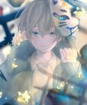 1boy 4ino_(shiino) blue_eyes blue_hoodie blurry blurry_background closed_mouth collared_shirt crying crying_with_eyes_open depth_of_field grey_hair holding holding_star hood hoodie long_sleeves looking_at_viewer male_focus mask mask_on_head oni_mask original shirt solo star_(symbol) string tears upper_body