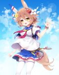 +_+ 1girl :d animal_ears bangs bead_bracelet beads blue_sailor_collar blue_skirt blue_sky blush bracelet breasts brown_eyes brown_hair clouds cloudy_sky commentary_request daruma_doll day eyebrows_visible_through_hair flower hair_between_eyes hair_flower hair_ornament hand_up highres horse_ears horse_girl horse_tail jewelry looking_at_viewer matikanefukukitaru_(umamusume) medium_breasts milkpanda outdoors pleated_skirt puffy_short_sleeves puffy_sleeves sailor_collar shirt short_sleeves skirt sky smile solo tail teeth thick_eyebrows thigh-highs umamusume upper_teeth white_legwear white_shirt yellow_flower