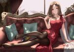 1girl absurdres alcohol bare_arms bare_shoulders black_legwear breasts brown_hair couch cup drinking_glass earrings feet formal full_body high_heels highres jewelry long_hair long_skirt looking_at_viewer no_bra no_shoes original pantyhose pillow red_eyes red_skirt revision shoes shoes_removed skirt solo tooku0 wine wine_glass