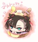 1girl asymmetrical_bangs bangs black_jacket blush chibi closed_mouth commentary_request earrings eyelashes frown green_eyes hair_ribbon jacket jewelry kurobe_sclock long_sleeves looking_at_viewer marnie_(pokemon) morpeko morpeko_(full) pokemon pokemon_(game) pokemon_swsh red_ribbon ribbon solo translation_request