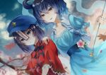 2girls bangs blue_dress blue_eyes blue_hair blurry blurry_foreground cabbie_hat chinese_clothes chisel dress dutch_angle flower hair_ornament hair_ribbon hair_rings hand_on_another's_shoulder hat highres kaku_seiga leaf looking_at_viewer maple_leaf mimino_courou miyako_yoshika multiple_girls ofuda open_mouth outdoors outstretched_arms pink_flower purple_hair purple_headwear ribbon shawl short_hair short_sleeves smile star_(symbol) star_hair_ornament tangzhuang touhou upper_body vest violet_eyes white_vest