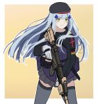 1girl 3_small_spiders absurdres ammunition_belt assault_rifle bangs beret black_headwear black_legwear blue_hair closed_mouth crossed_bangs eyebrows_visible_through_hair feet_out_of_frame german_flag girls_frontline gloves green_eyes gun h&k_hk416 hat highres hk416_(girls'_frontline) holding holding_gun holding_weapon long_hair looking_away rifle simple_background solo standing tactical_clothes teardrop_facial_mark teardrop_tattoo thigh-highs uniform weapon white_gloves