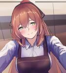 1girl 3_small_spiders apron blush breasts brown_apron brown_ribbon closed_mouth eyebrows_visible_through_hair girls_frontline green_eyes hair_ribbon highres long_hair looking_at_viewer medium_breasts orange_hair ponytail ribbon shirt simple_background smile solo_focus springfield_(girls'_frontline) upper_body white_shirt