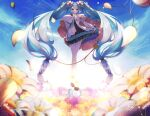 1girl aqua_eyes aqua_hair bangs blue_sky blush commentary_request dress floating flower full_body hair_between_eyes hair_ornament hatsune_miku highres long_hair long_sleeves looking_at_viewer multicolored multicolored_background nuko_0108 petals sky solo tagme teeth twintails very_long_hair vocaloid wide_sleeves