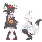 2girls animal_ear_fluff animal_ears bangs bell black_dress black_footwear black_hair black_headwear black_legwear boots braid breasts brown_eyes closed_eyes closed_mouth detached_sleeves dress ears_through_headwear extra_ears eyebrows_visible_through_hair facing_another flying_sweatdrops fox_ears fox_girl fox_tail frilled_dress frills full_body hair_between_eyes hair_ornament halloween_bucket hat heart high_heels highres hololive jingle_bell knee_boots knees_together_feet_apart long_hair long_sleeves looking_away medium_breasts multicolored_hair multiple_girls ookami_mio open_mouth pigeon-toed redhead shirakami_fubuki shirt simple_background squatting standing streaked_hair tail thigh-highs translation_request uchukurage_san very_long_hair virtual_youtuber white_background white_hair white_shirt wide_sleeves witch_hat wolf_ears wolf_girl