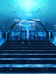 1girl absurdres air_bubble arch bubble dress facing_away fantasy fish highres long_hair manta_ray ocean original scenery shark shuu_illust solo stairs standing stone_stairs torii tree underwater underwater_shrine white_dress