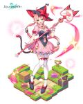 1girl :d absurdres black_headwear breasts cat_tail chii_aruel dress frilled_dress frills green_eyes hair_ornament hat highres holding holding_staff large_breasts lim_jaejin long_hair looking_at_viewer low_ponytail official_art pink_dress pink_hair shoes short_sleeves smile solo soul_worker staff tail thigh-highs very_long_hair white_legwear witch_hat