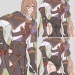 1boy belt bracelet brown_eyes brown_hair clothes_removed ear_piercing gloves granblue_fantasy grey_background highres holding holding_weapon jewelry kakaki_28 lamorak_(granblue_fantasy) long_bangs long_hair looking_to_the_side male_focus piercing shirt smile solo thigh-highs thighs vial weapon white_shirt