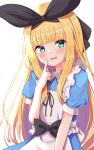 1girl :d apron bangs baram black_bow black_ribbon blonde_hair blue_dress blunt_bangs blush bow collared_dress commentary_request dress eyebrows_visible_through_hair green_eyes hair_ribbon hand_up head_tilt highres index_finger_raised long_hair looking_at_viewer mononobe_alice multicolored_hair nijisanji puffy_short_sleeves puffy_sleeves purple_hair ribbon short_sleeves simple_background smile solo two-tone_hair very_long_hair virtual_youtuber white_apron white_background
