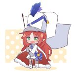 1girl arknights cape chibi drum_major eyebrows_visible_through_hair flag full_body green_eyes hat holding holding_flag kurotofu long_hair long_sleeves myrtle_(arknights) official_alternate_costume open_mouth pointy_ears redhead smile solo standing thigh-highs white_cape white_flag white_headwear