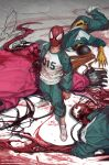 1girl 3boys artist_name bangs blood blood_on_clothes carnage_(marvel) clenched_hand corpse crossover english_commentary green_jacket highres in-hyuk_lee jacket long_tongue looking_up marvel multiple_boys open_mouth red_jumpsuit scream_(marvel) shirt spider-man spider-man_(series) squid_game superhero tongue track_jacket venom_(marvel) web_address white_shirt