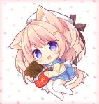 1girl :d animal_ear_fluff animal_ears antenna_hair bangs beret black_bow blue_eyes blue_sailor_collar blue_skirt blush bow brooch brown_bow cardigan cat_ears cat_girl cat_tail chibi commentary_request eyebrows_visible_through_hair full_body hair_bow hat heart heart_background jewelry long_hair long_sleeves looking_at_viewer no_shoes original pink_hair plaid plaid_bow pleated_skirt ryuuka_sane sailor_collar skirt sleeves_past_wrists smile solo stuffed_toy tail thigh-highs very_long_hair white_headwear white_legwear yellow_cardigan