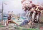 absurdres building claws commentary_request day deoxys dynamax fence grass groudon highres lens_flare no_humans outdoors outstretched_arms pokemon pokemon_(creature) power_lines primal_groudon rock sky spikes utility_pole yamakake_(tororo1293)