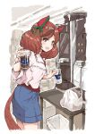 1girl animal_ears bag blouse blue_skirt blush brown_hair coffee_maker_(object) commentary_request cowboy_shot cropped_legs cup disposable_cup grey_eyes highres holding holding_cup horse_ears horse_tail looking_at_viewer medium_hair multicolored_hair nice_nature_(umamusume) open_mouth plastic_bag red_shirt satomura_kyou shirt short_twintails skirt solo streaked_hair tail trash_can twintails umamusume white_blouse